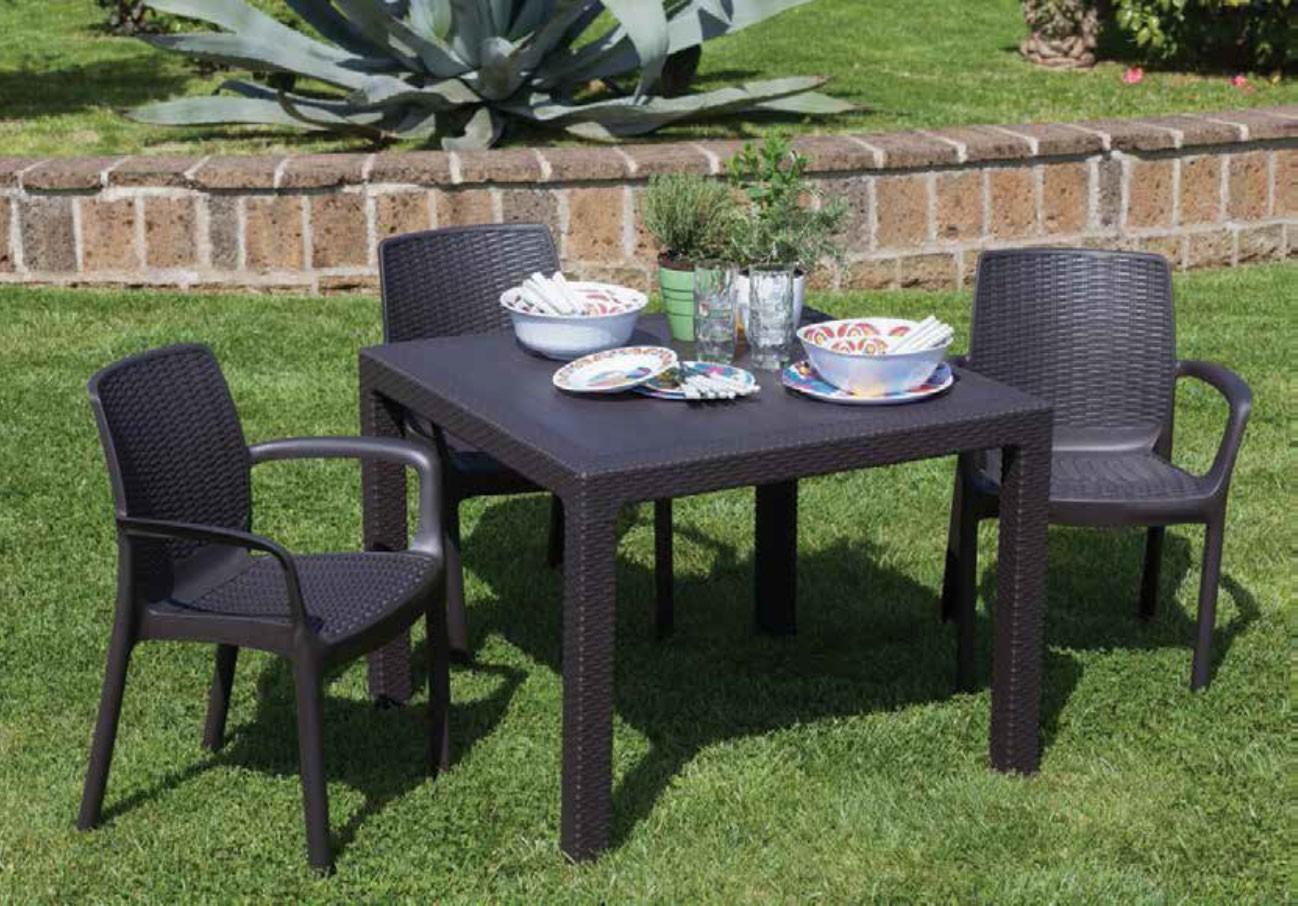 Sedie Di Resina Da Giardino.Cs0635 Resina Pallantestore Tavolo Da Giardino Quadrato Mod