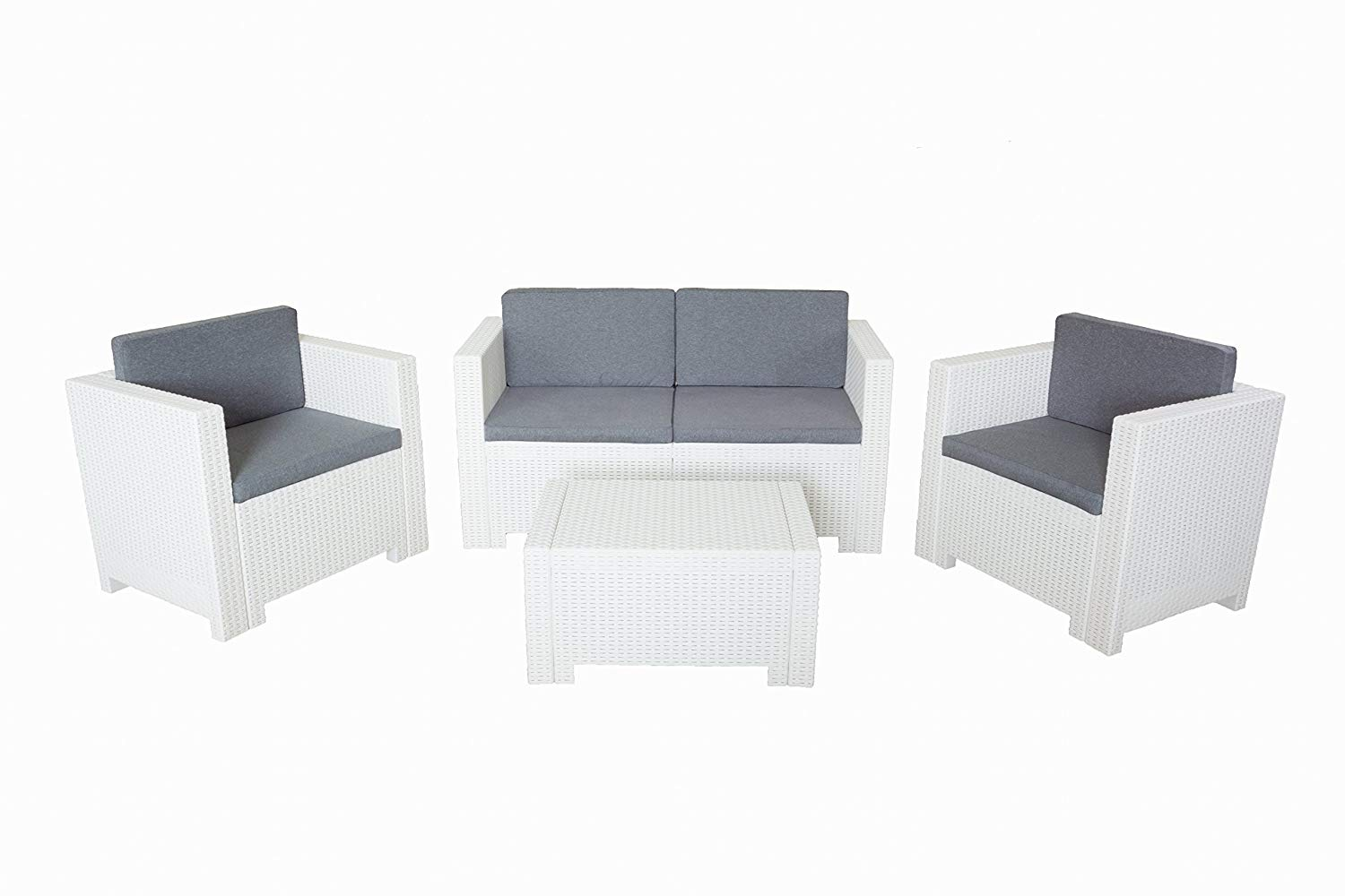 Bica 9017.4 Set Salottino in resina bianco mod. Colorado 4 Posti 119x64x57 cm