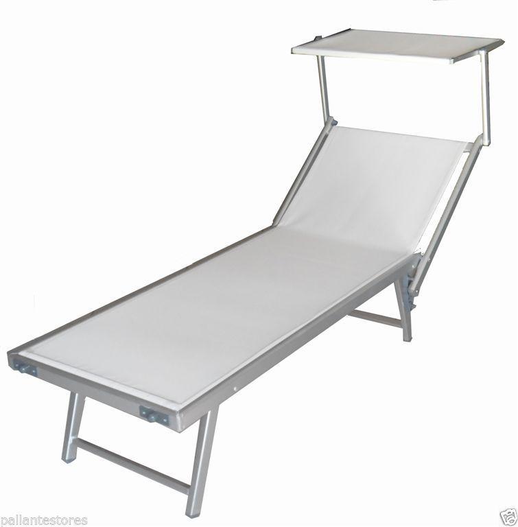 Lettino sdraio alluminio mare Professionale  Beach telo textilene 1000 gr bianco