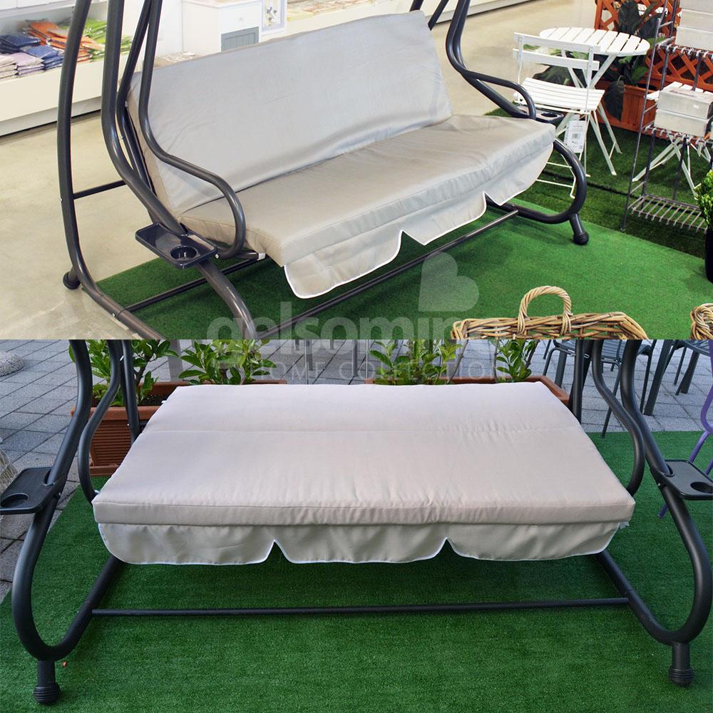 Dondolo 3 posti acciaio da giardino esterno con cuscini trasformabile in letto ebay - Cuscini per lettini da giardino ...