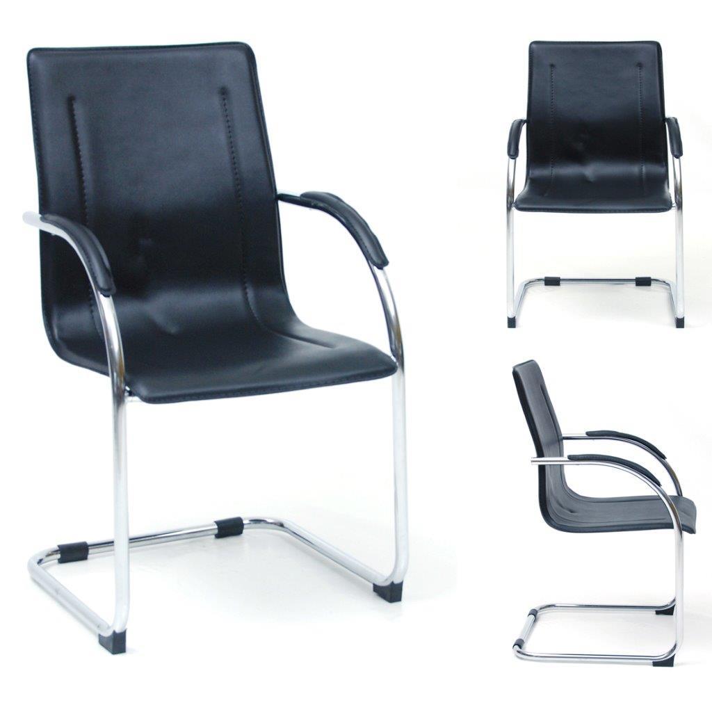 Poltrona ufficio sedia attesa slitta acciaio cromato eco pelle mod ...