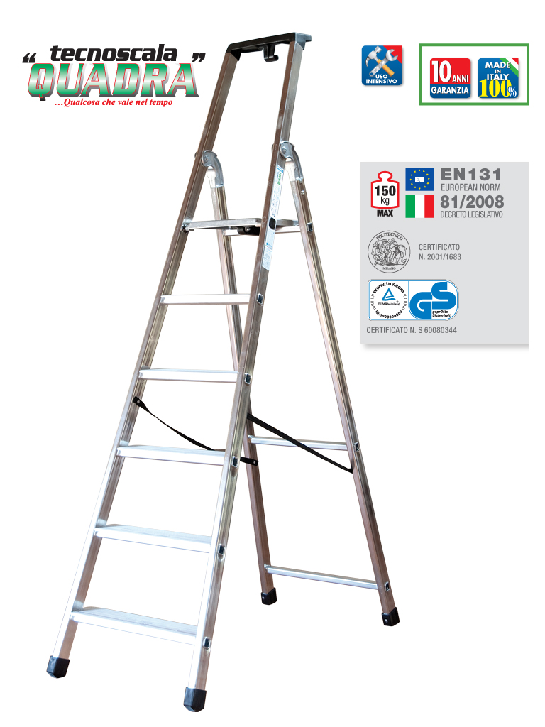 SCALA ALLUMINIO PROFESSIONALE FACAL QUADRA 6 GRADINI MADE ITALY