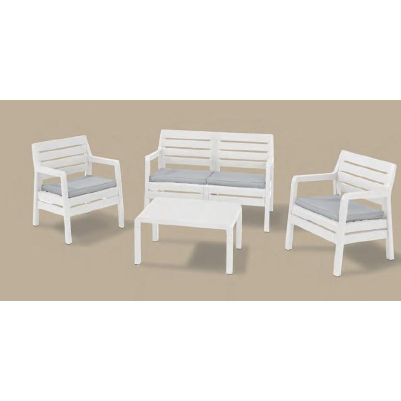 Poltrone In Resina Da Giardino.Set Da Giardino In Resina Mod Delano Colore Bianco Divano Tavolino