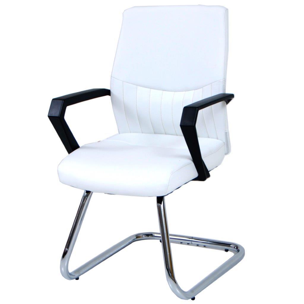 Poltrona ufficio sedia attesa slitta fissa in ecopelle Sake bianca 58x56xH92 cm
