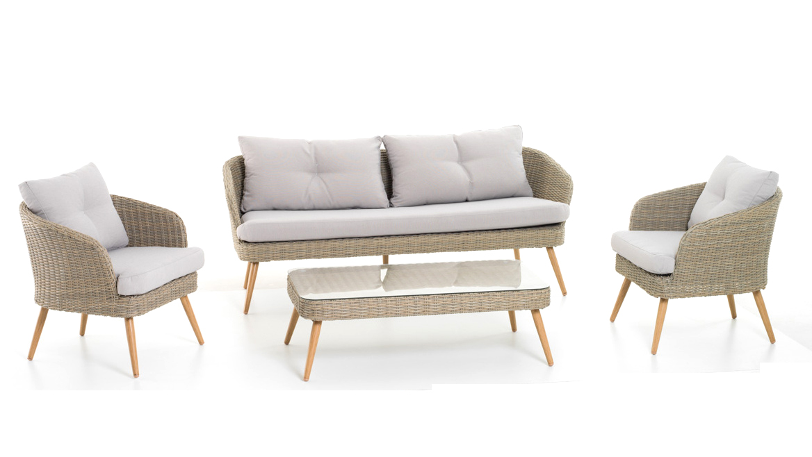 Salottino Lounge 5 posti Set Sofa Bahia colore tortora polyrattan art. M0970
