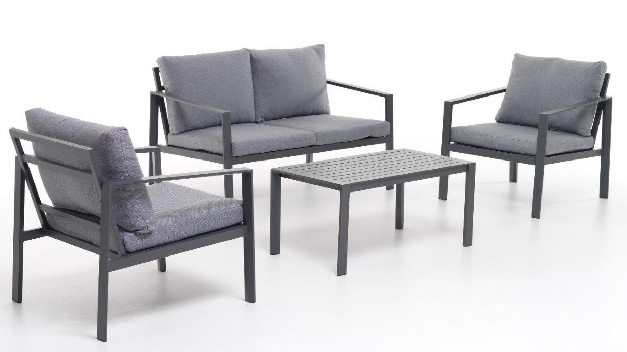 Salottino set sofa alluminio mod. Atlanta 4 pz antracite 4 pp