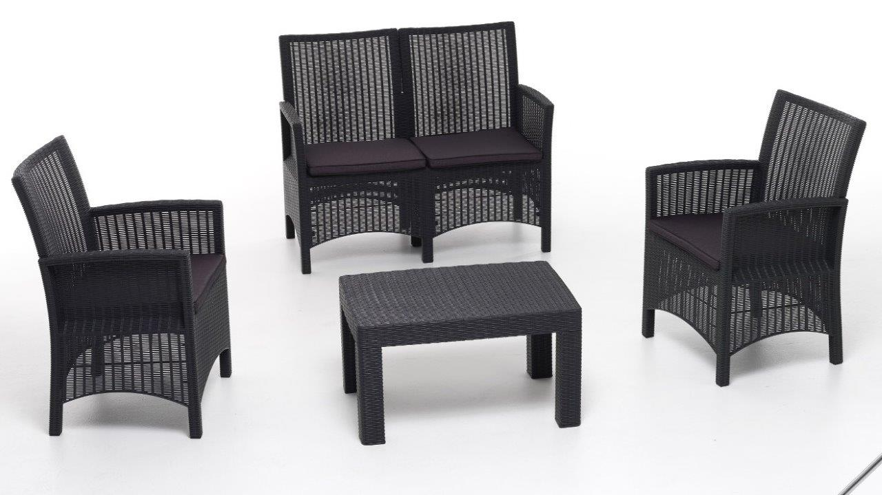 Set sofa salottino London antracite polipropilene rattan cuscini sfoderabili