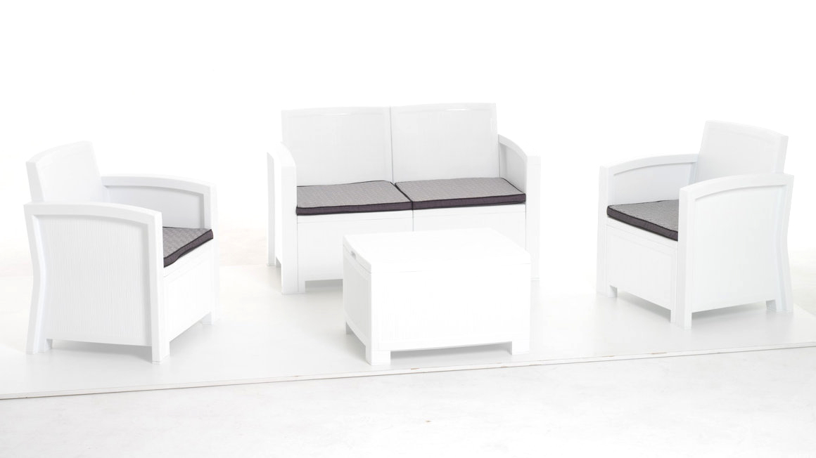 Salottino se sofa mod. New York bianco polipropilene rattan 4 pz cuscini sfoder.