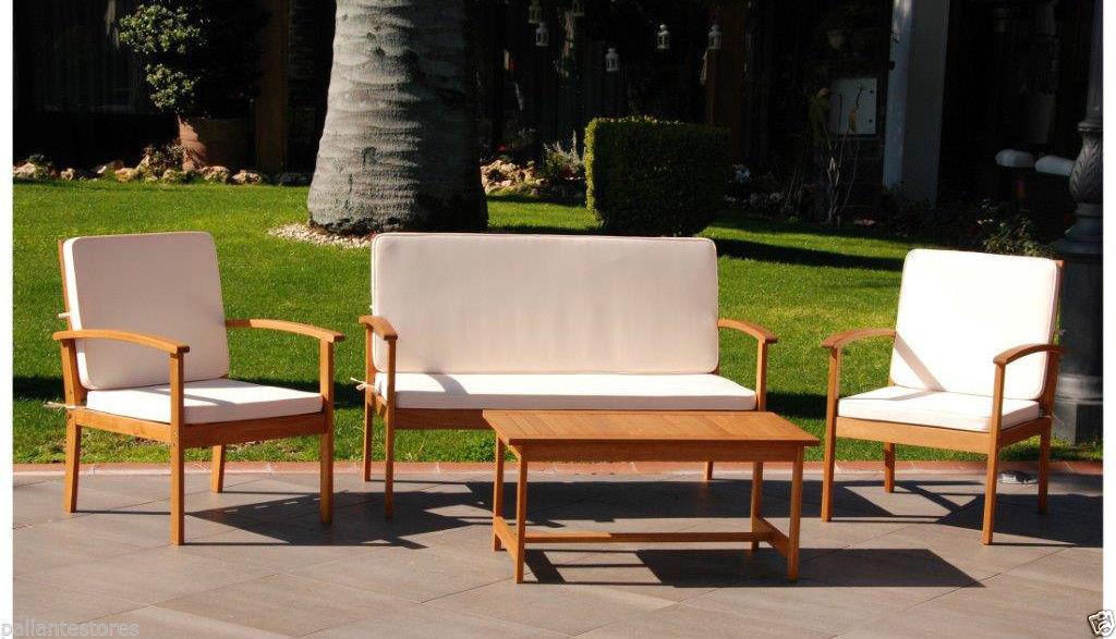Set da giardino in legno salottino california dining m0744 for Set giardino legno