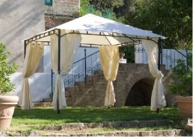 GAZEBO IN METALLO MOD. RODI 3X3 MT CON TENDE COLORE MARRONE