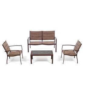 SET LOBRA SOFA ECRU CON DIVANETTO 2 POLTRONE TAVOLINO METALLO MARRONE