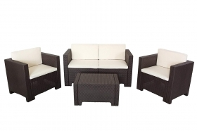 Bica 9017.4 Set Salottino in resina marrone mod. Colorado 4 Posti 119x64x57 cm