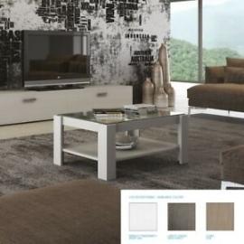 Tavolino Salotto Fiordaliso legno con piano in vetro misura 90x60x40h cm  bianco