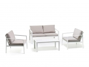 Salottino set sofa alluminio mod. Atlanta 4 pz bianco 4 pp