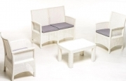 Set sofa salottino London polipropilene con effetto rattan cuscini sfoderabili