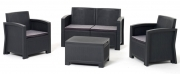 Salottino se sofa mod New York grafite polipropilene rattan 4 pz cuscini sfoder.